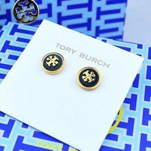 Tory Burch Black Enameled Circle Stud Earring